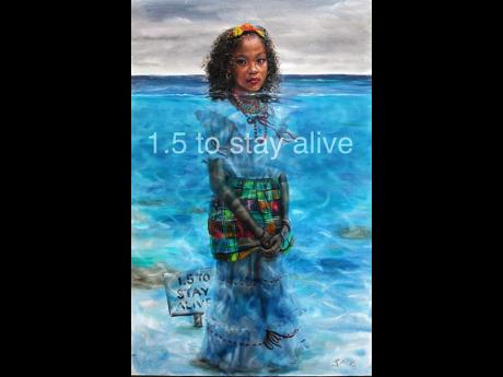 The Jonathan Guy-Gladding painting titled 1.5 to Stay Alive, which is counted among the artistic outputs from the Caribbean's 1.5 to Stay Alive campaign.
